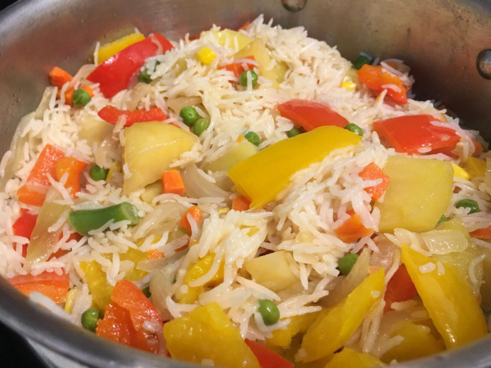 how to make vegetable rice pulao pilaf