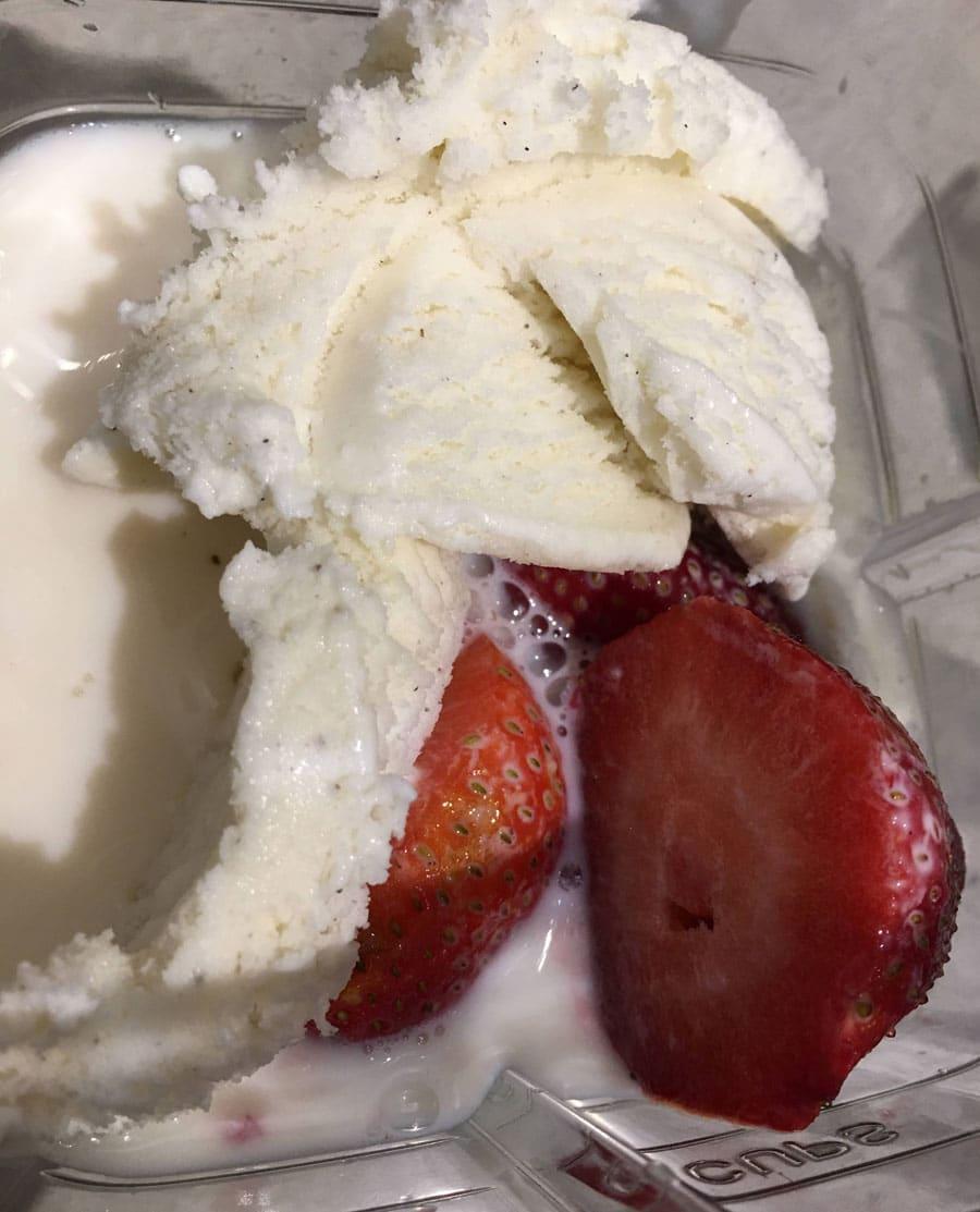strawberries, ice cream, milk in blender