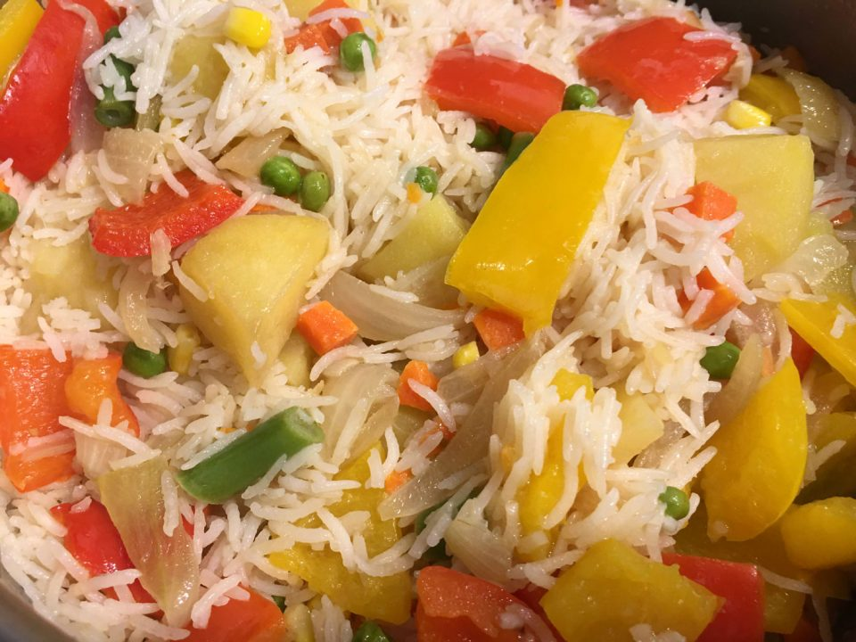 vegetable rice pulao pilaf easy indian recipe