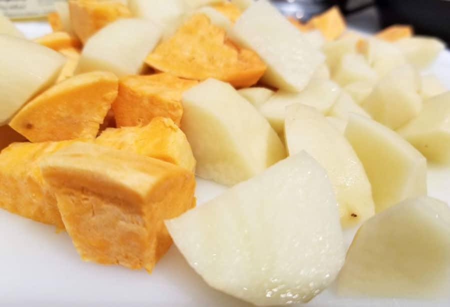 sliced potatoes and sweet potatoes