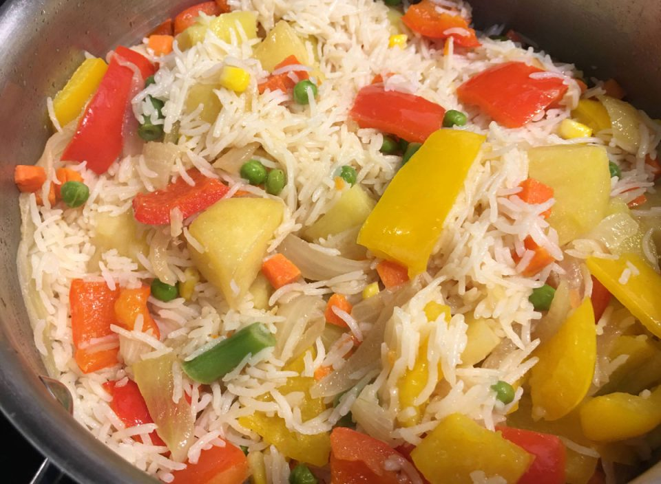 vegetable rice pilaf pulao recipe