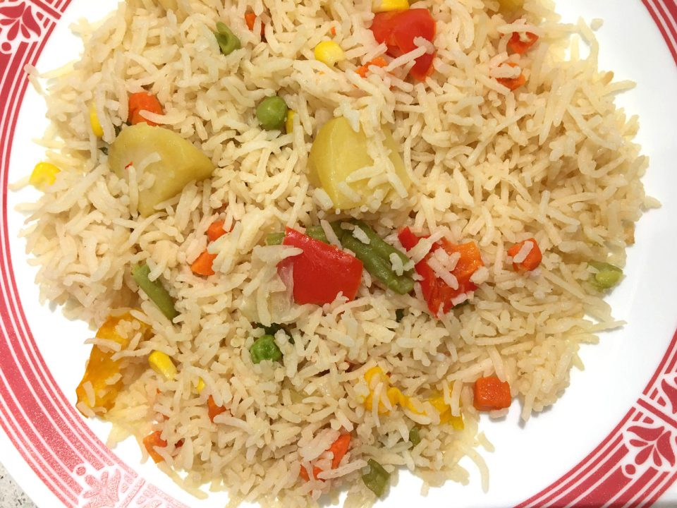 vegetable pulao rice pilaf with mixed vegetables