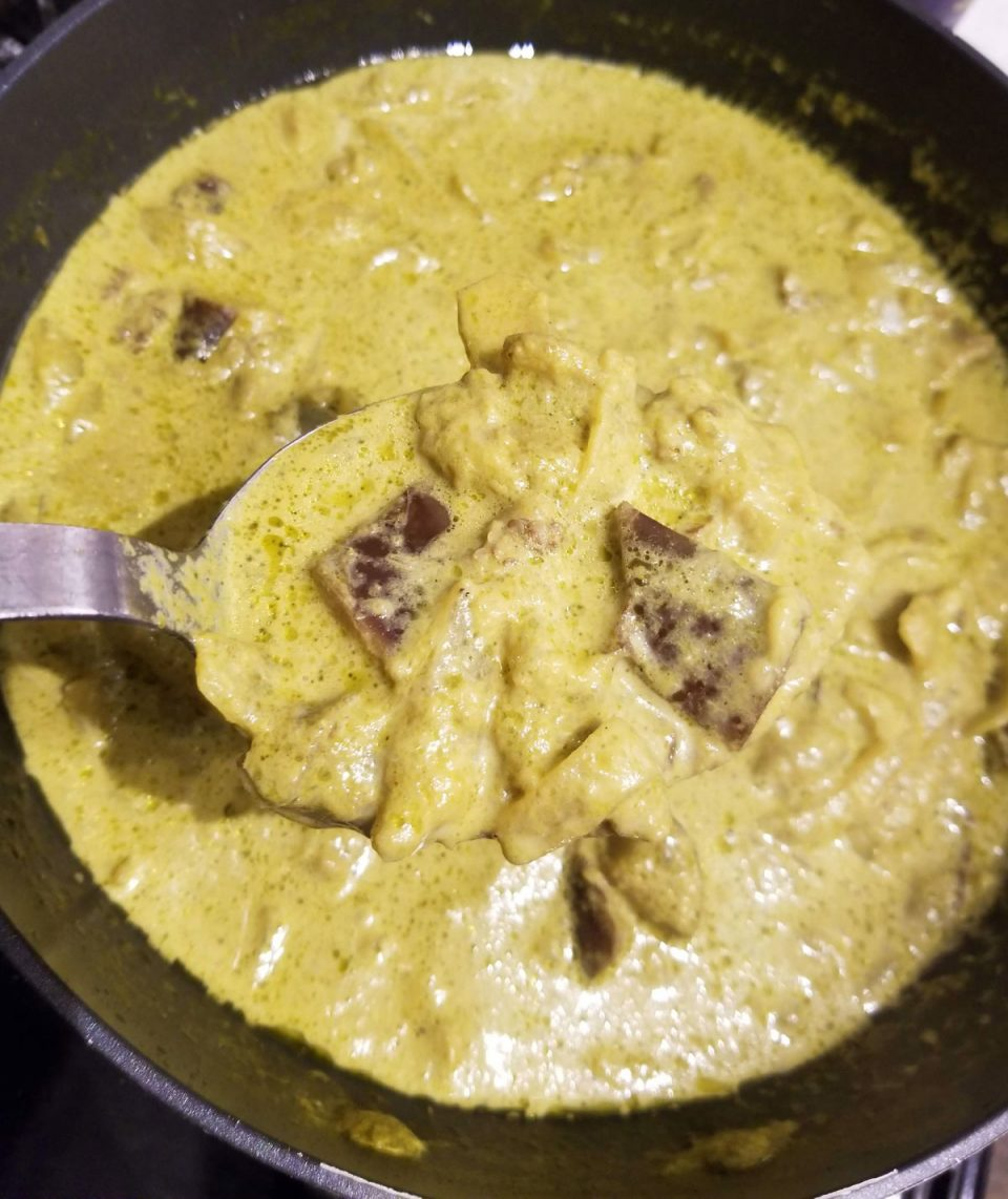 creamy eggplant spinach curry
