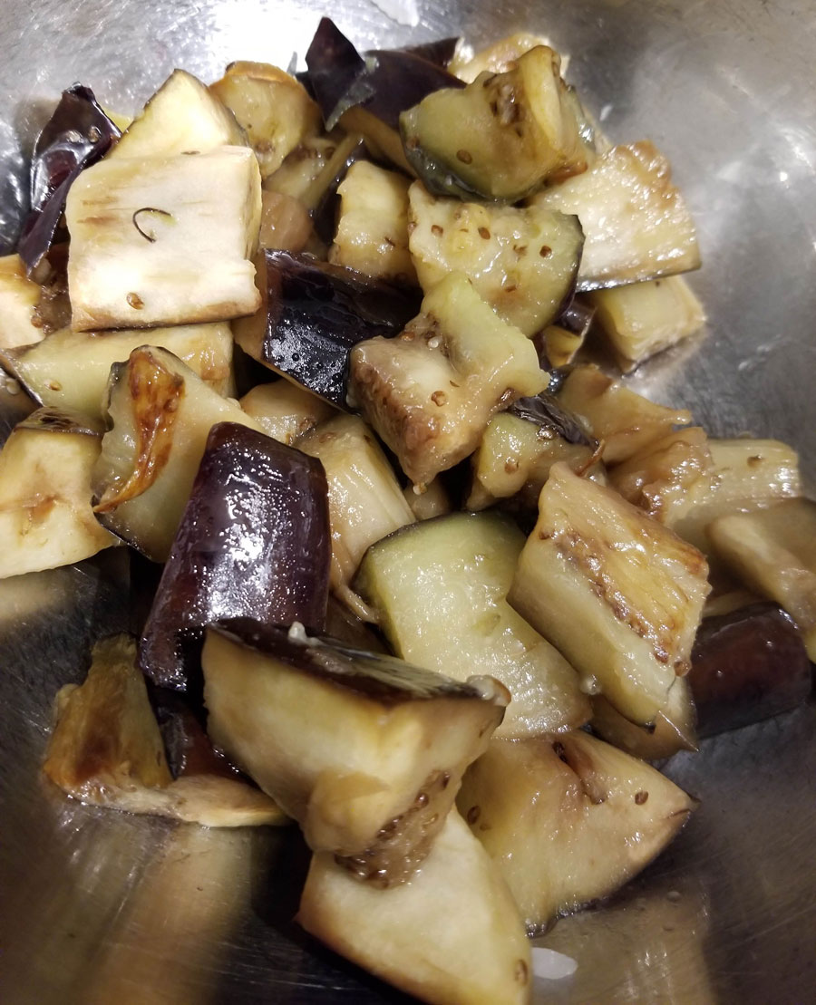 fried eggplant cubes