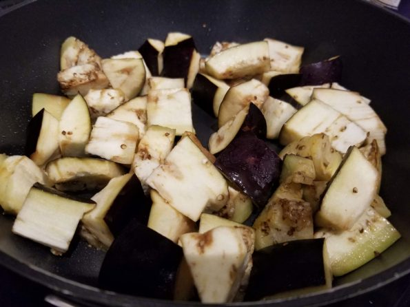 frying eggplant in pan