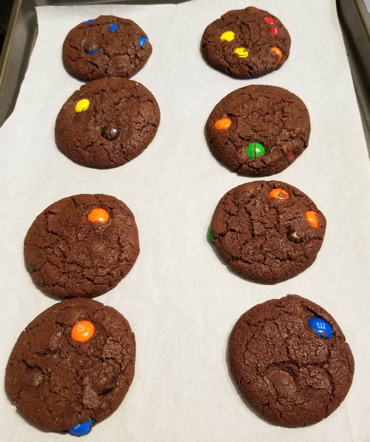 eggless chocolate m&m cookies with self rising flour