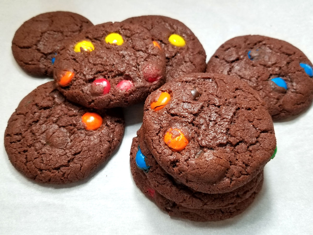 chocolate m&m cookies with self rising flour