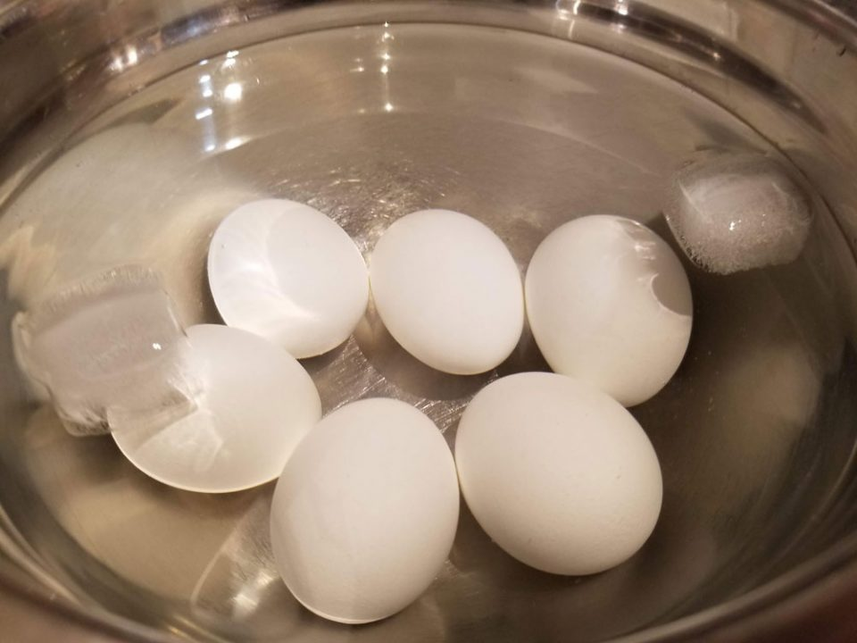 eggs in ice water bath