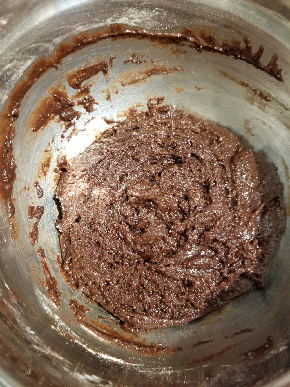 making chocolate cookie dough