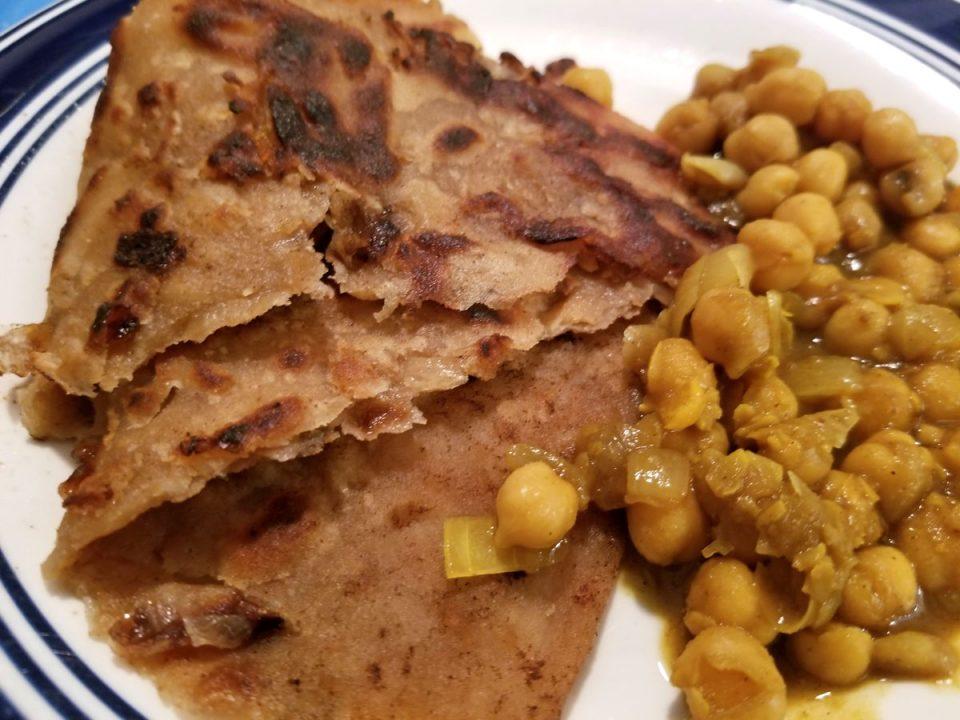 onion paratha with chana masala
