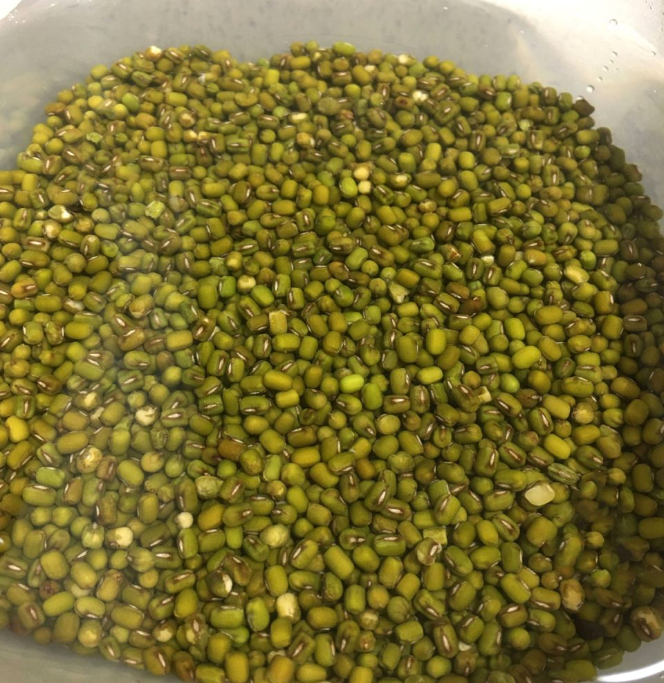 moong dal soaked in water