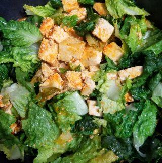 scrambled tofu with lettuce