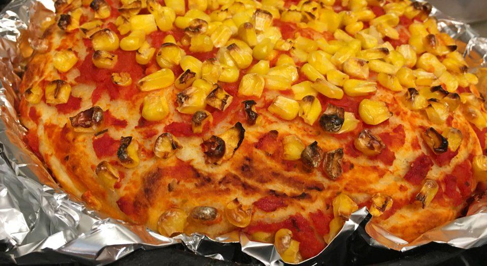 sweet corn skillet pizza
