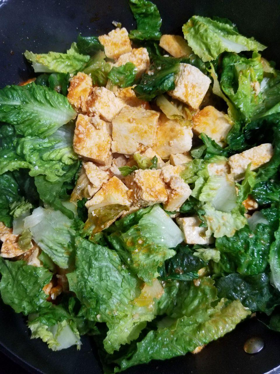 tofu lettuce scramble