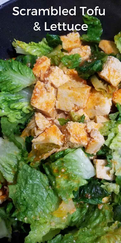 tofu scramble with lettuce salad