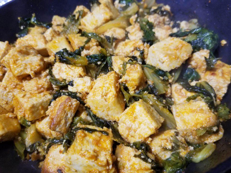 vegan tofu scramble with lettuce
