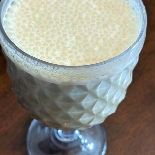 apple peanut butter milkshake with maple syrup