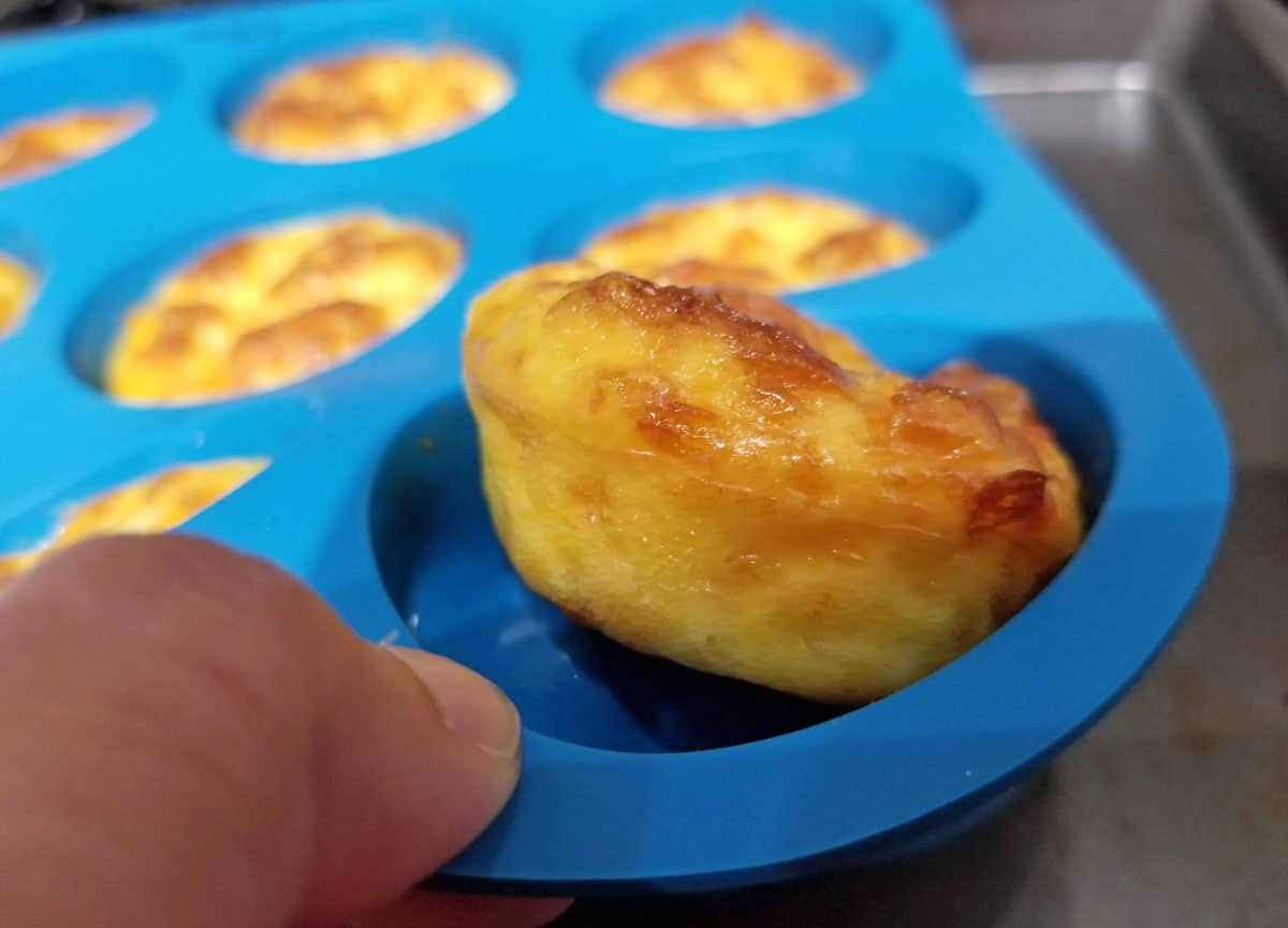 egg cheese muffins in silicon muffin tray