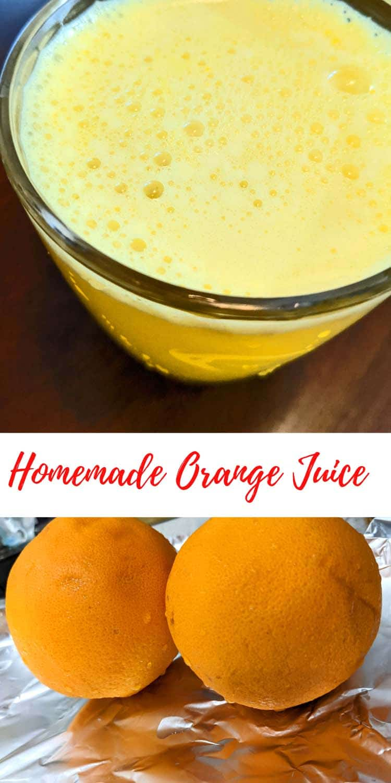 homemade fresh squeezed orange juice