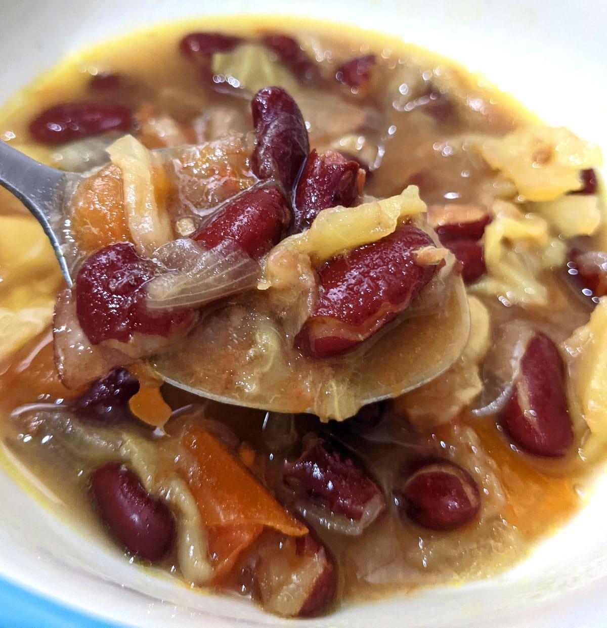 dark red kidney beans cabbage soup