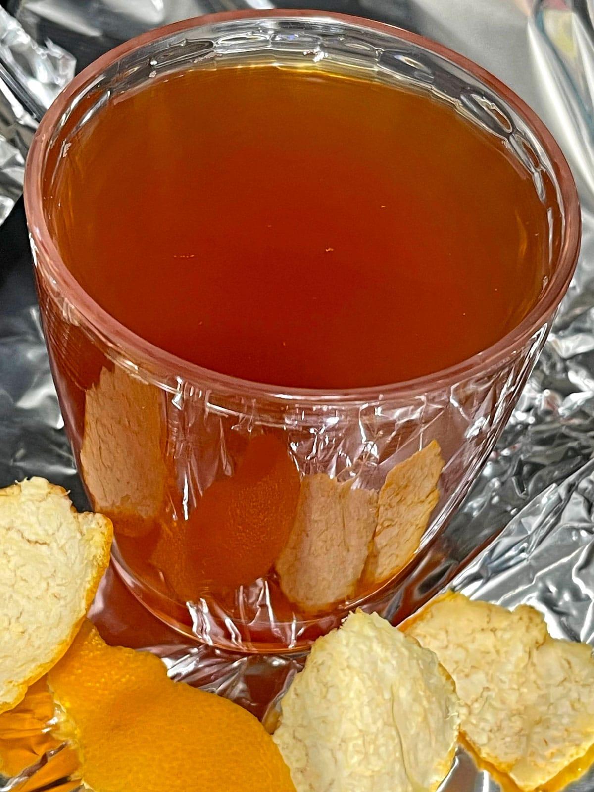 orange peel tea with honey